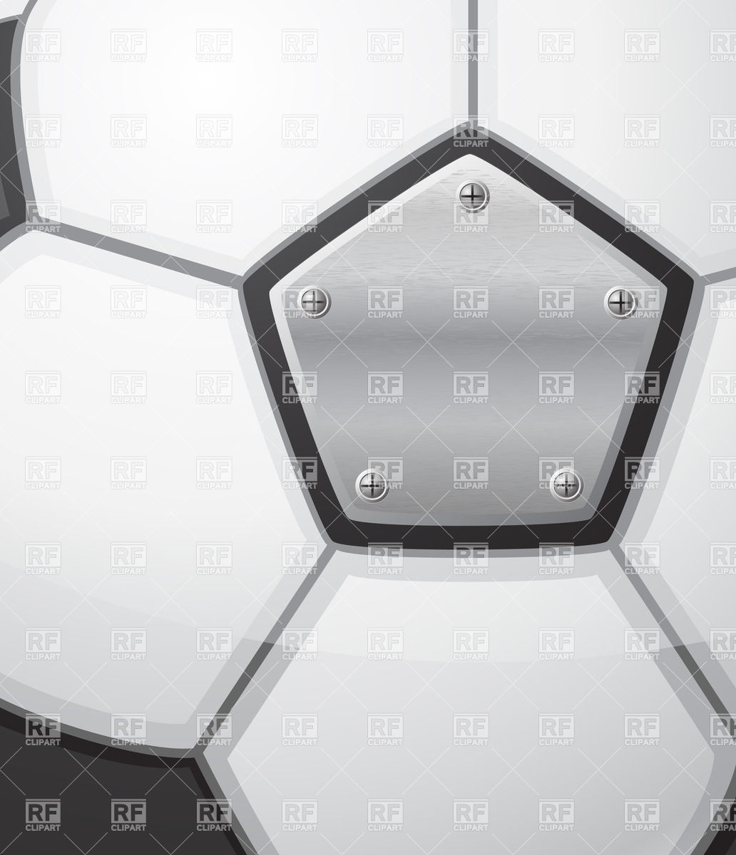 Soccer ball with textured metal plate on rivets Vector Image.