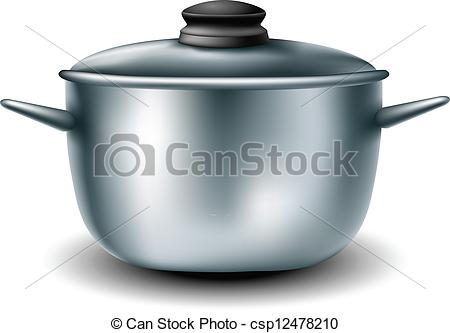 Vector Clip Art of Cooking metal pan with lid on it csp12478210.