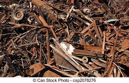 Stock Photo of Large Pile of Scrap Metal.