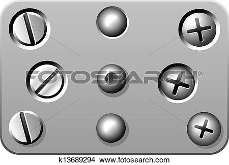Clipart of Metal Screws rivets bolts nuts k13689294.