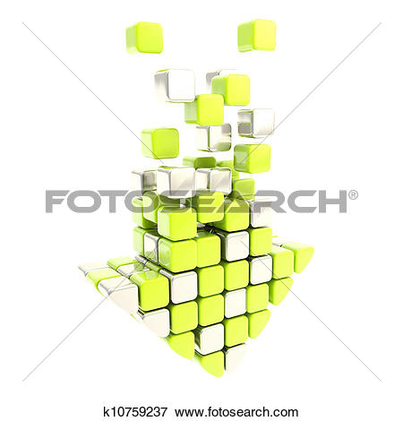 Stock Illustration of Free download arrow icon made of green and.