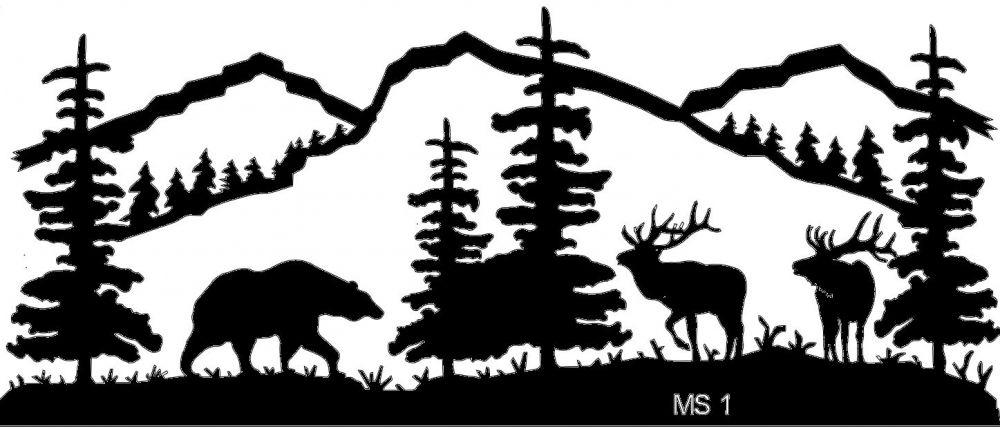 Deer Scene Silhouette Clip Art.