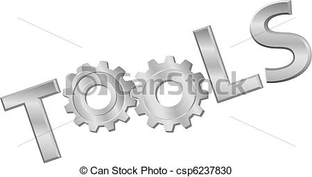 Vector Clipart of Shiny metal tools technology gear icon word.
