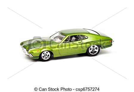 Stock Photo of Green Metal toy car isolated on white csp6757274.