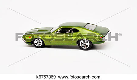 Stock Photograph of Green Metal toy car isolated on white k6757369.