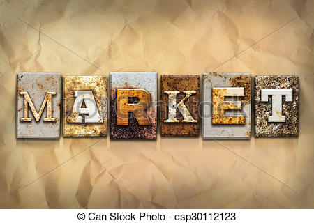 Clip Art of Market Concept Rusted Metal Type.