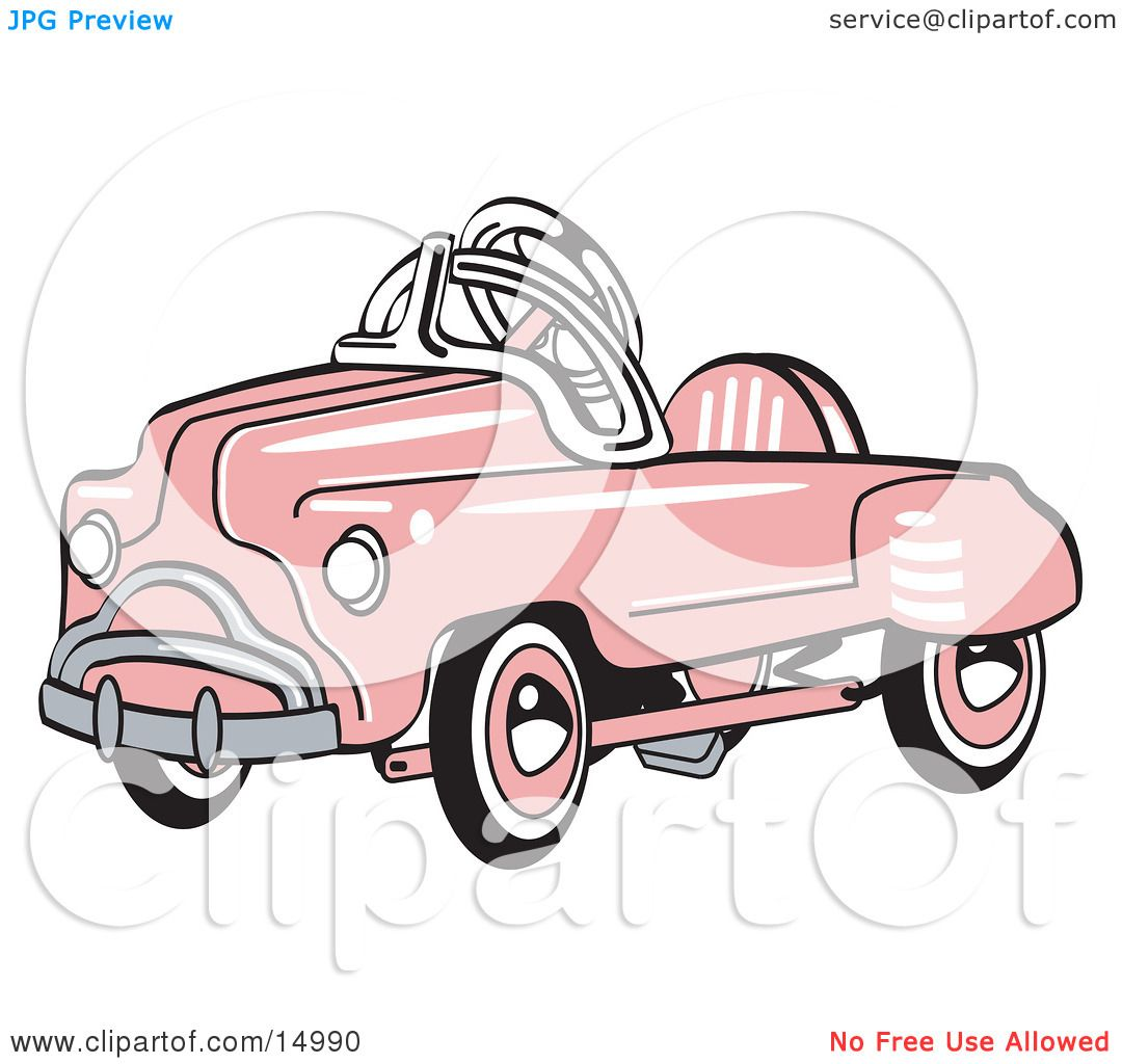Pink Metal Pedal Convertible Toy Car Clipart Illustration by Andy.