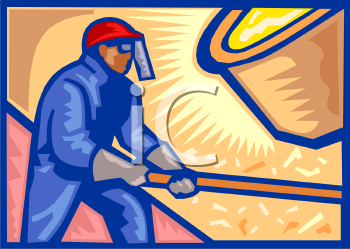 Royalty Free Clipart Image: Iron Worker Tipping a Vat of Molten Metal.
