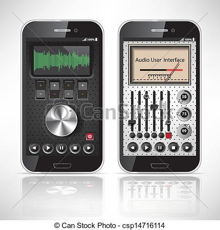 Vector Clip Art of Two UI Mobile Application Metal, black.