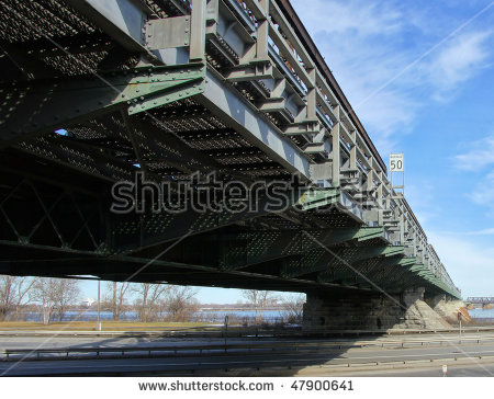 Metallic Bridge Structure Under The Highway Stock Photo 47900641.