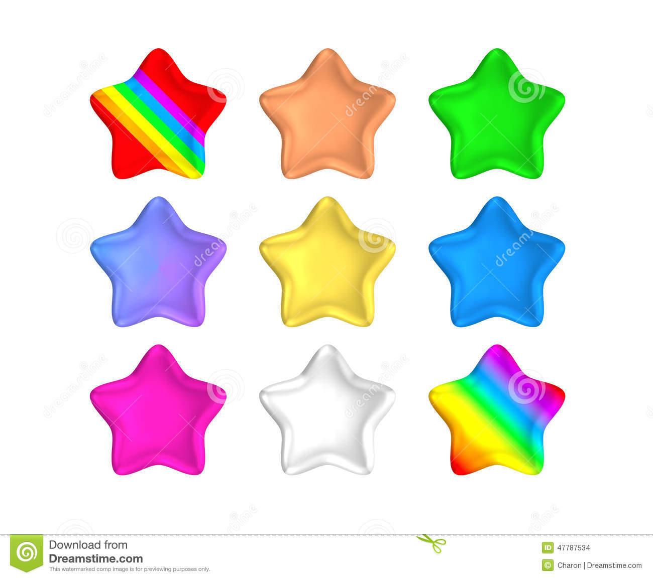 Isolated Rainbow Color Metallic Stars Stock Illustration.