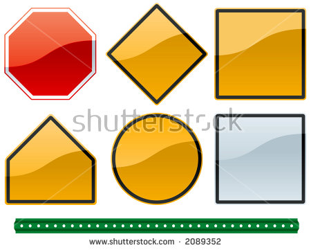 Set Common Road Sign Shapes Metallic Stock Vector 2089352.