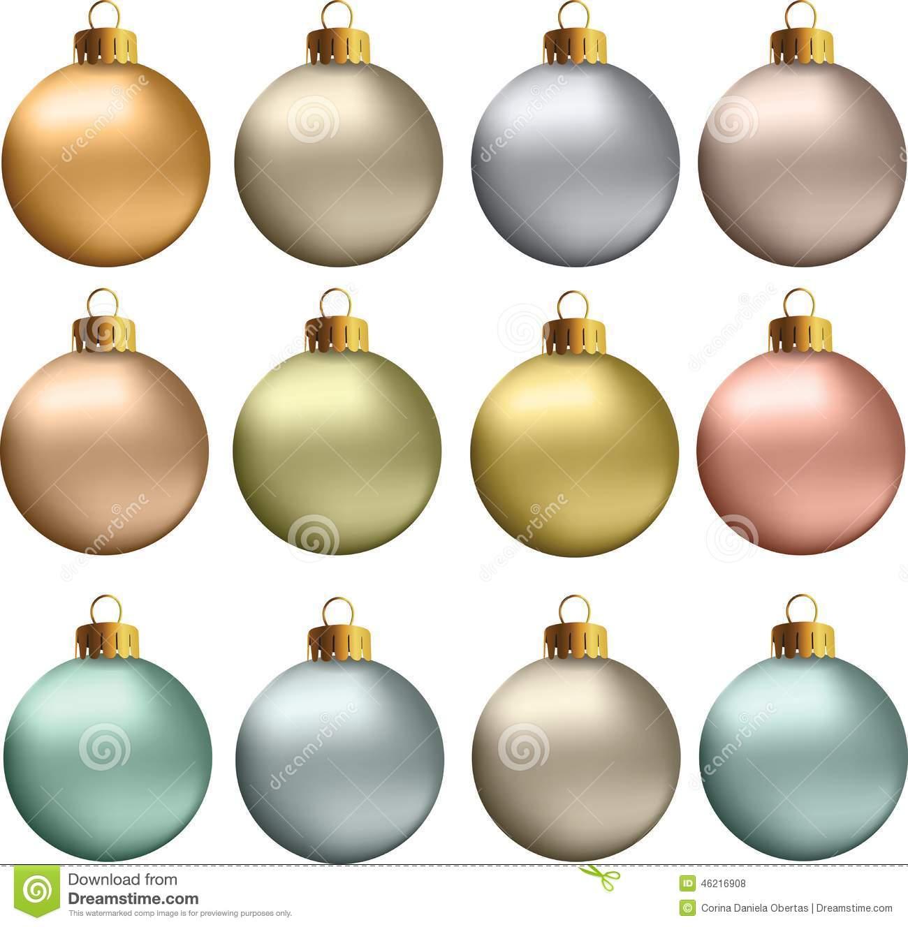 Vector Christmas Balls Pastel Metallic Colors Stock Vector.