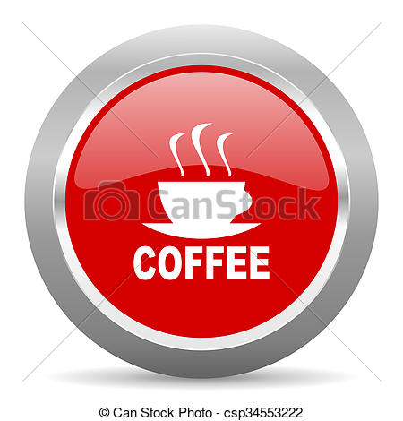 Clip Art of espresso red metallic chrome web circle glossy icon.