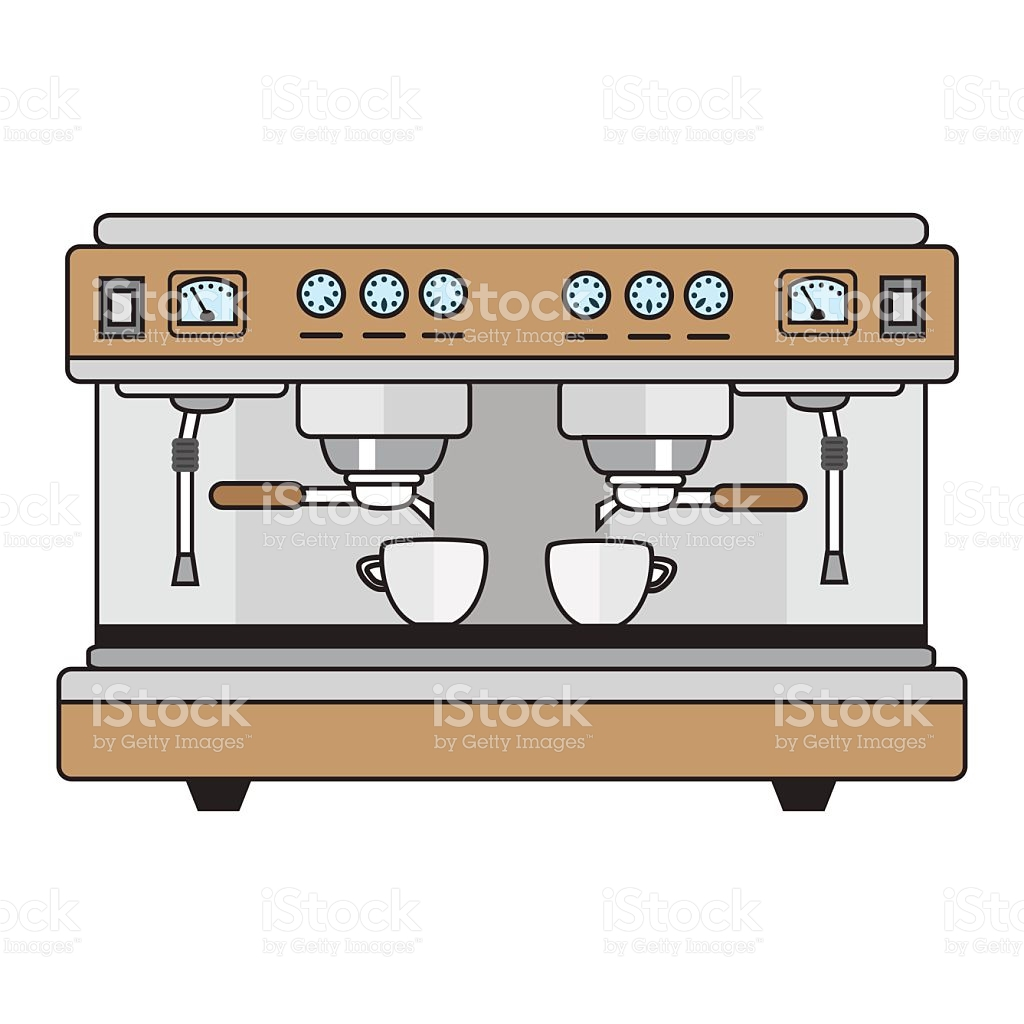 Professional Coffee Machine Metallic Colors In A Flat Style stock.