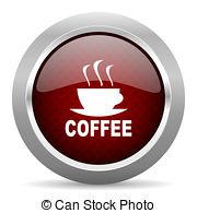 Espresso red metallic chrome web circle glossy icon Illustrations.