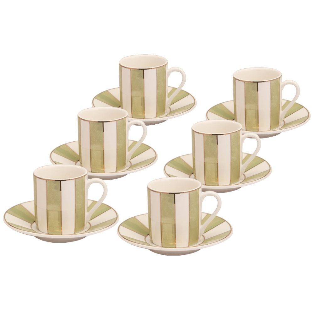 Metallic Sage Stripe 12 Piece Espresso Set.