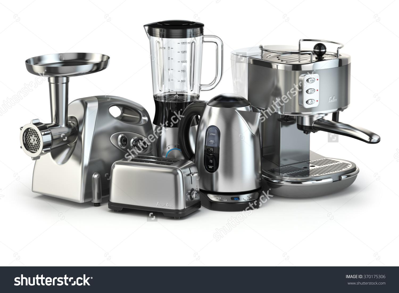 Metallic Kitchen Appliances Blender Toaster Coffee Stock.