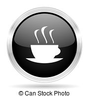 Espresso black metallic modern web design glossy circle icon.