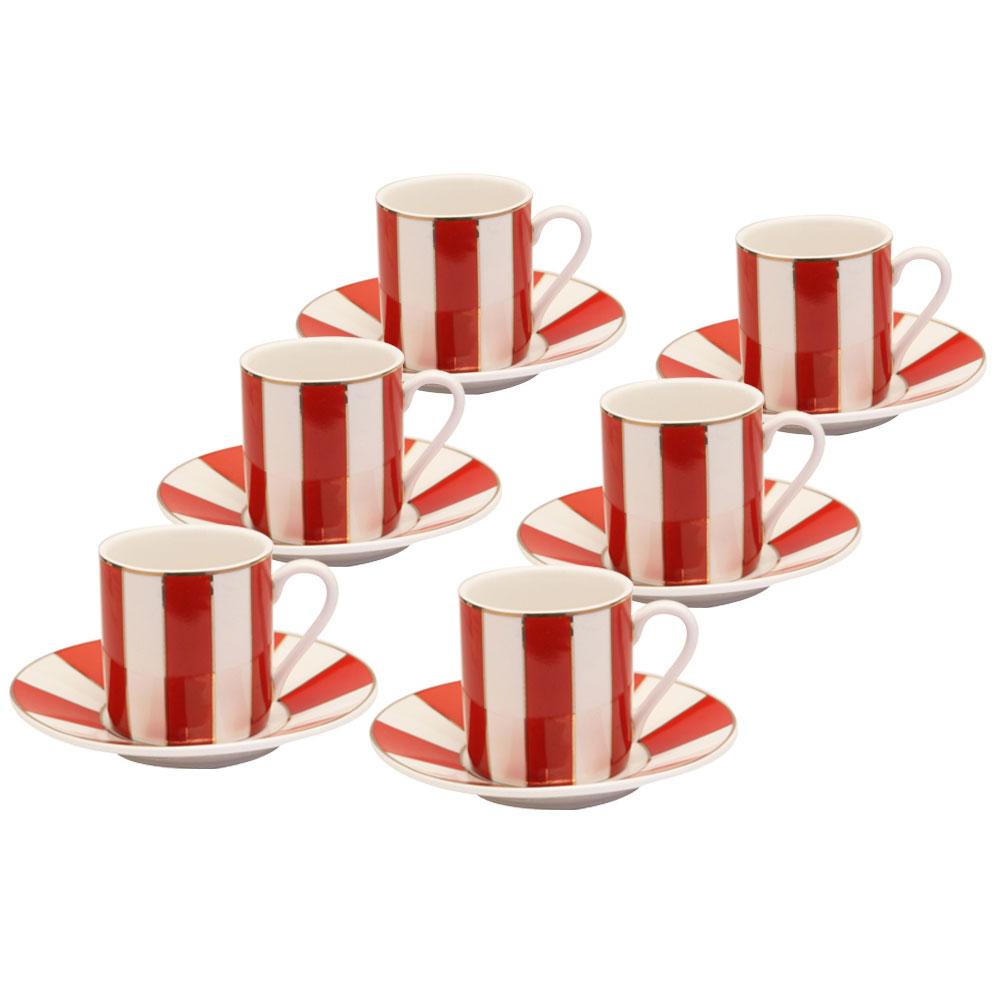 Metallic Red Stripe 12 Piece Espresso Set.
