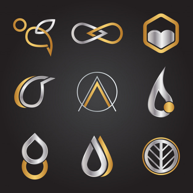 Metallic logo type set Vector.