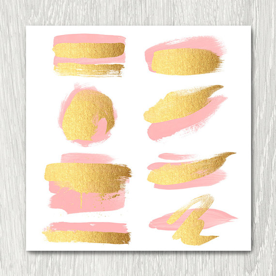 Gold Brush Strokes Clipart.
