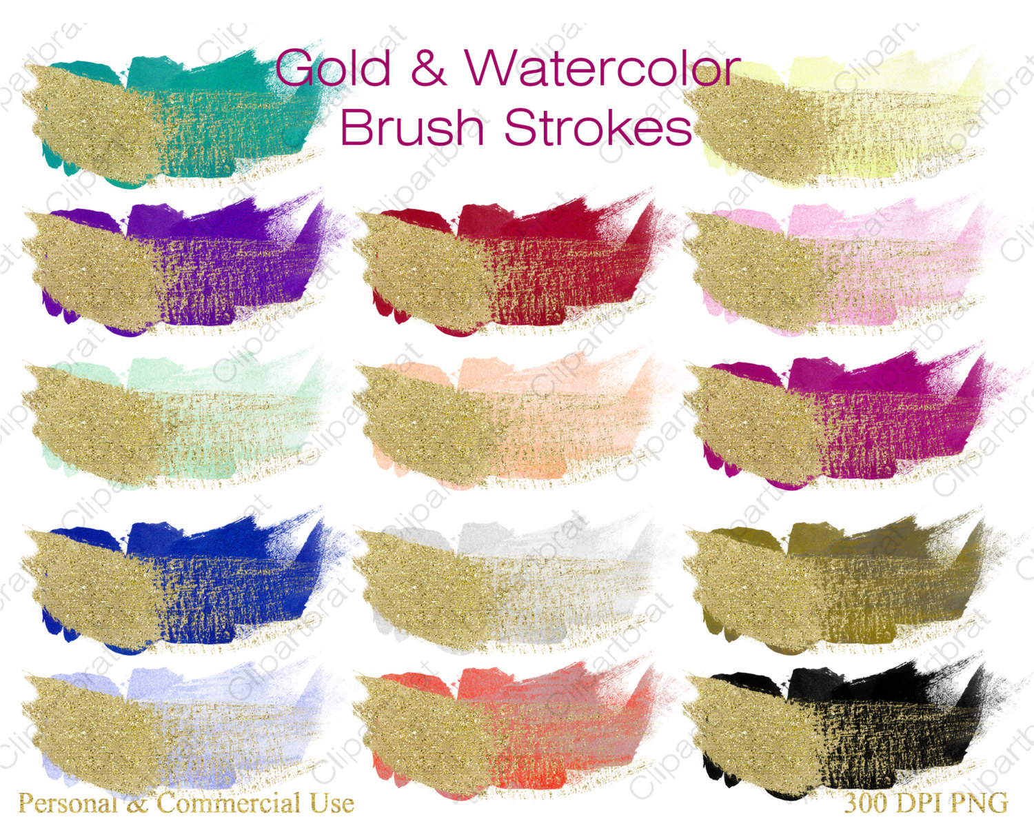 GOLD BRUSH STROKES Clipart Commercial Use Clipart 14 Watercolor.