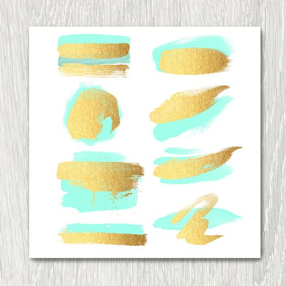 Gold Brush Strokes Clip Art.