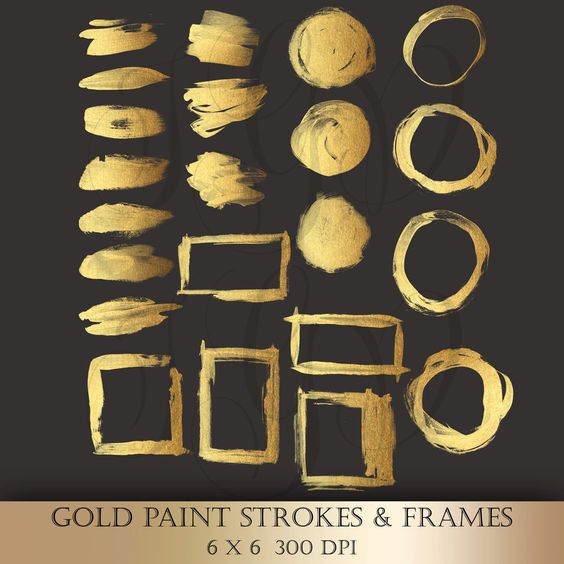 Gold Brush Paint Strokes Clip Art.