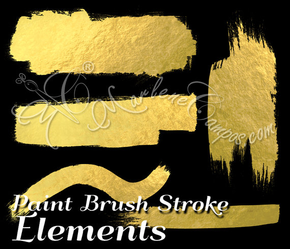 Gold Paint Strokes, paint brush stroke Elements, Metallic paint.