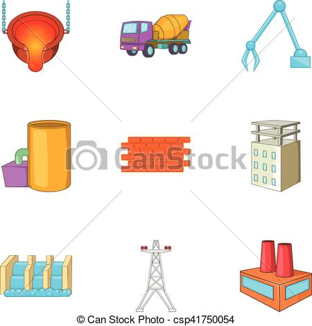 Clipart Vector of Metallurgical plant icons set, cartoon style.