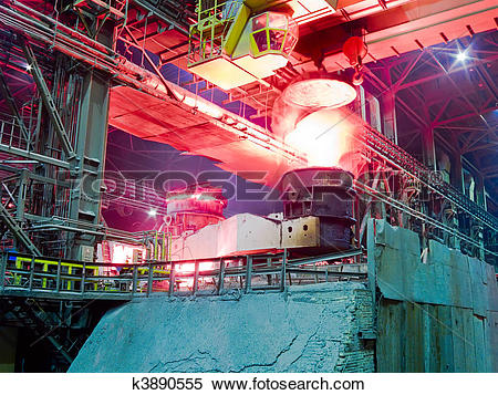 Stock Image of Metallurgical plant, industrial production process.