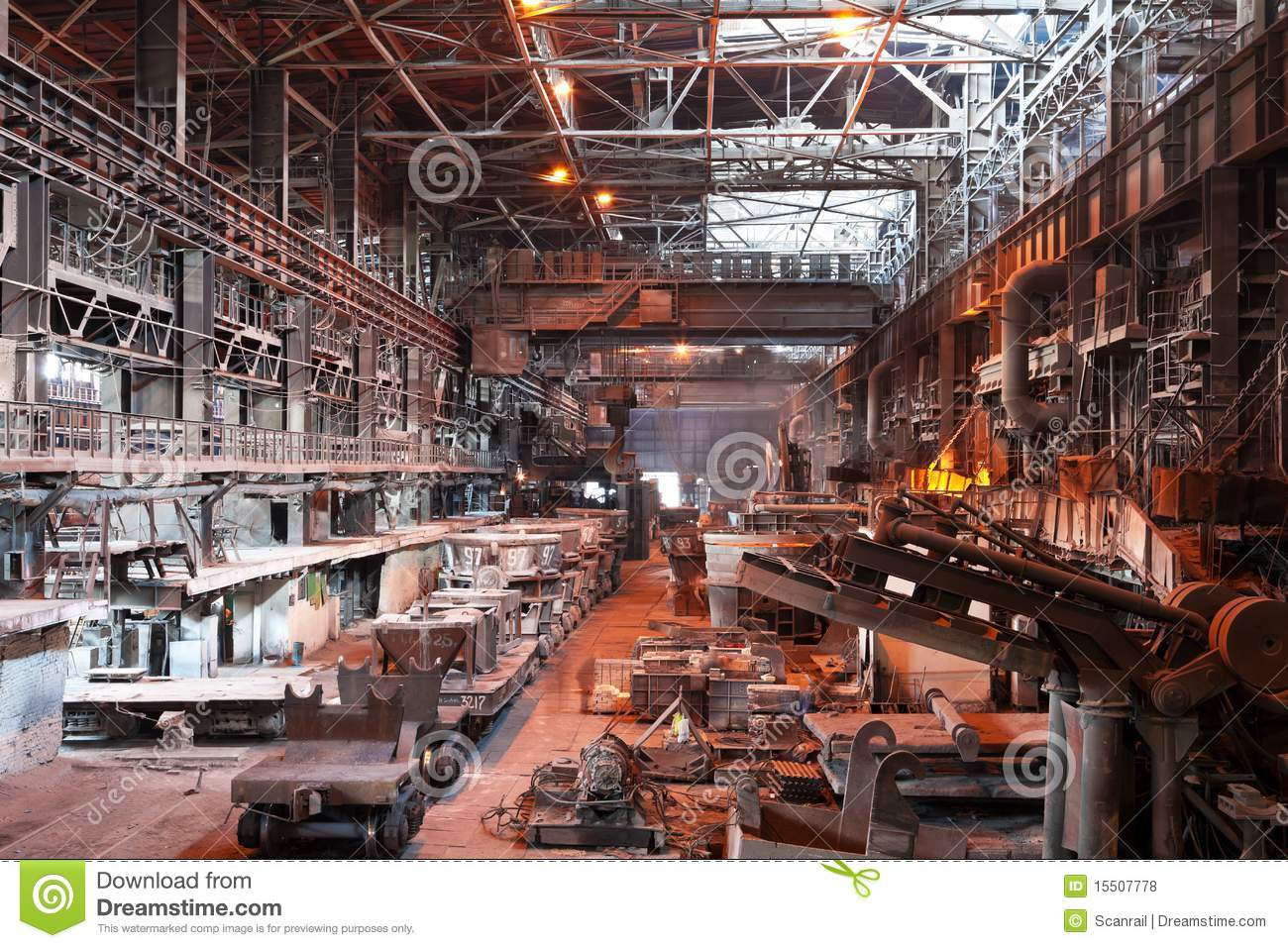 Interior Of Metallurgical Plant Workshop Royalty Free Stock Photos.