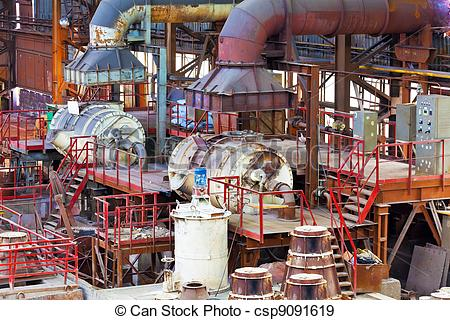 Stock Photographs of Foundry equipment in casting hangar of.