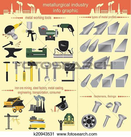 Clipart of Set of metallurgy icons, metal work k20943531.