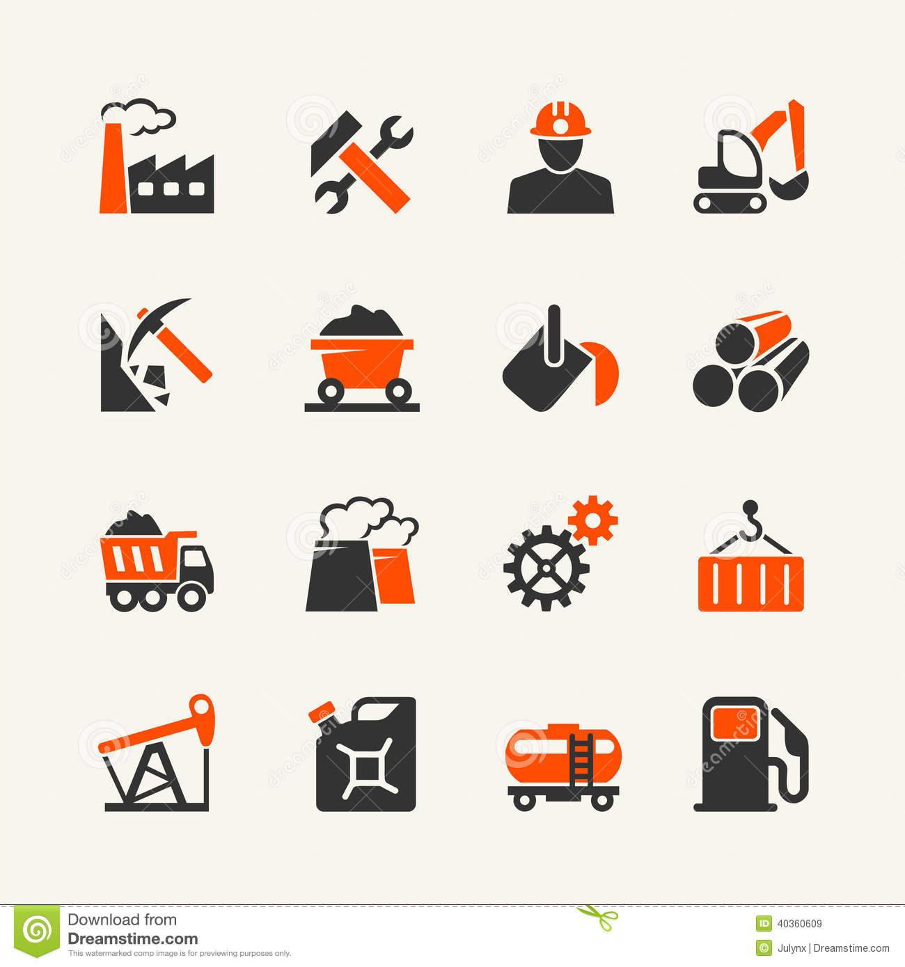 Industrial Web Icon Set Stock Vector.