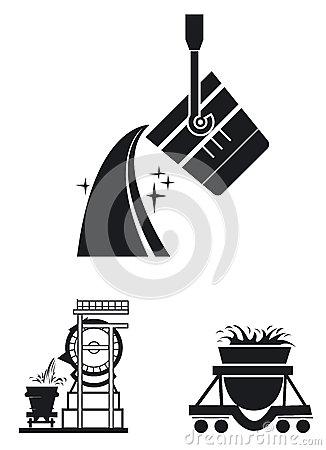 Set Icons Of Metallurgy Stock Vector.
