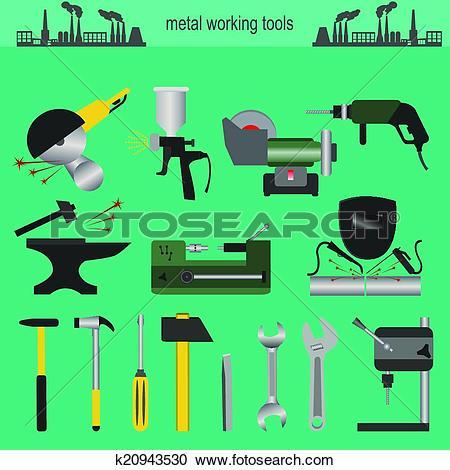 Clipart of Set of metallurgy icons, metal work k20943530.