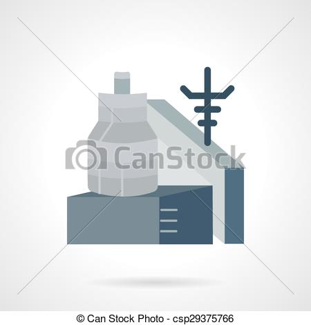 Clip Art Vector of Metalworking factory flat vector icon.