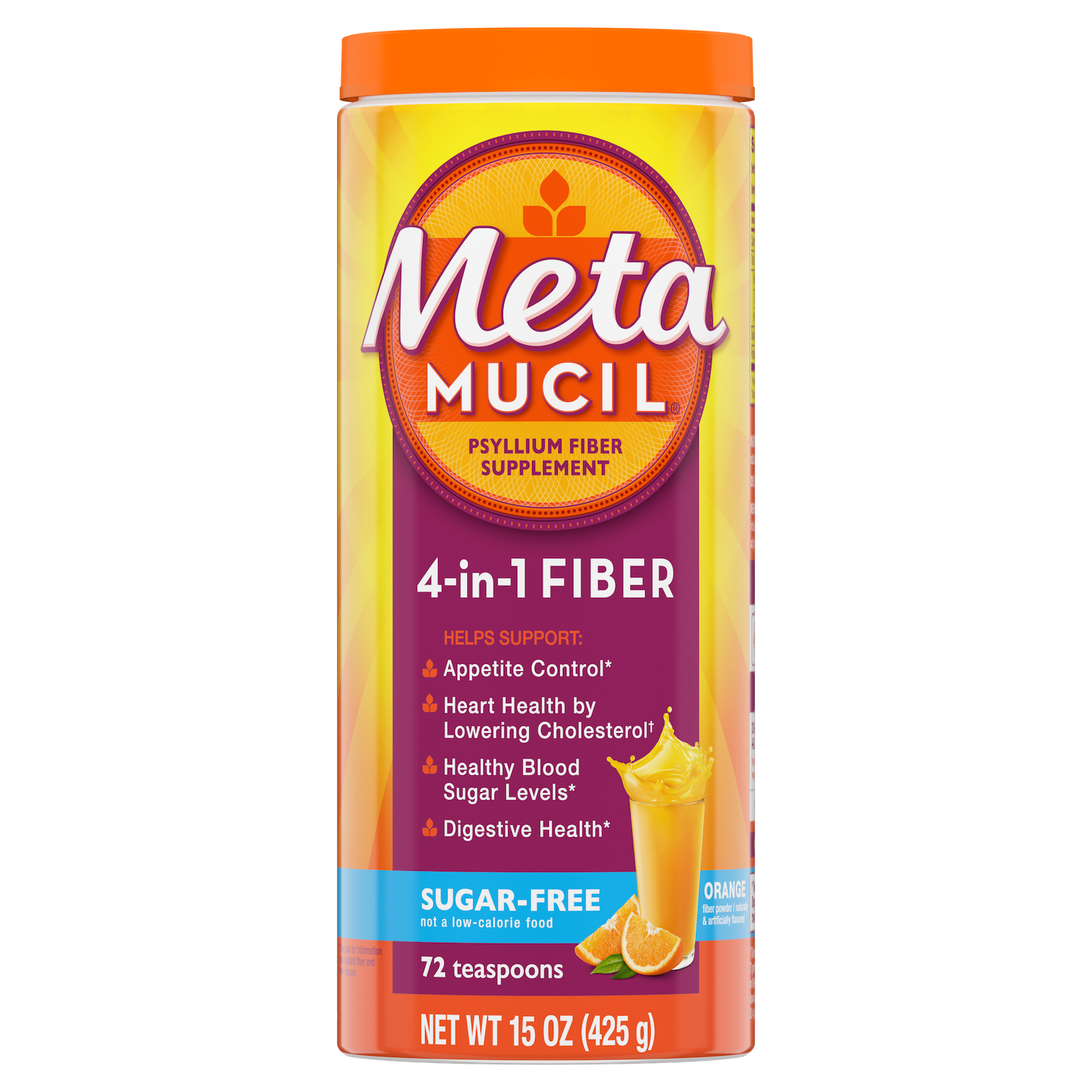 Metamucil Sugar Free Orange Smooth Fiber Powder.