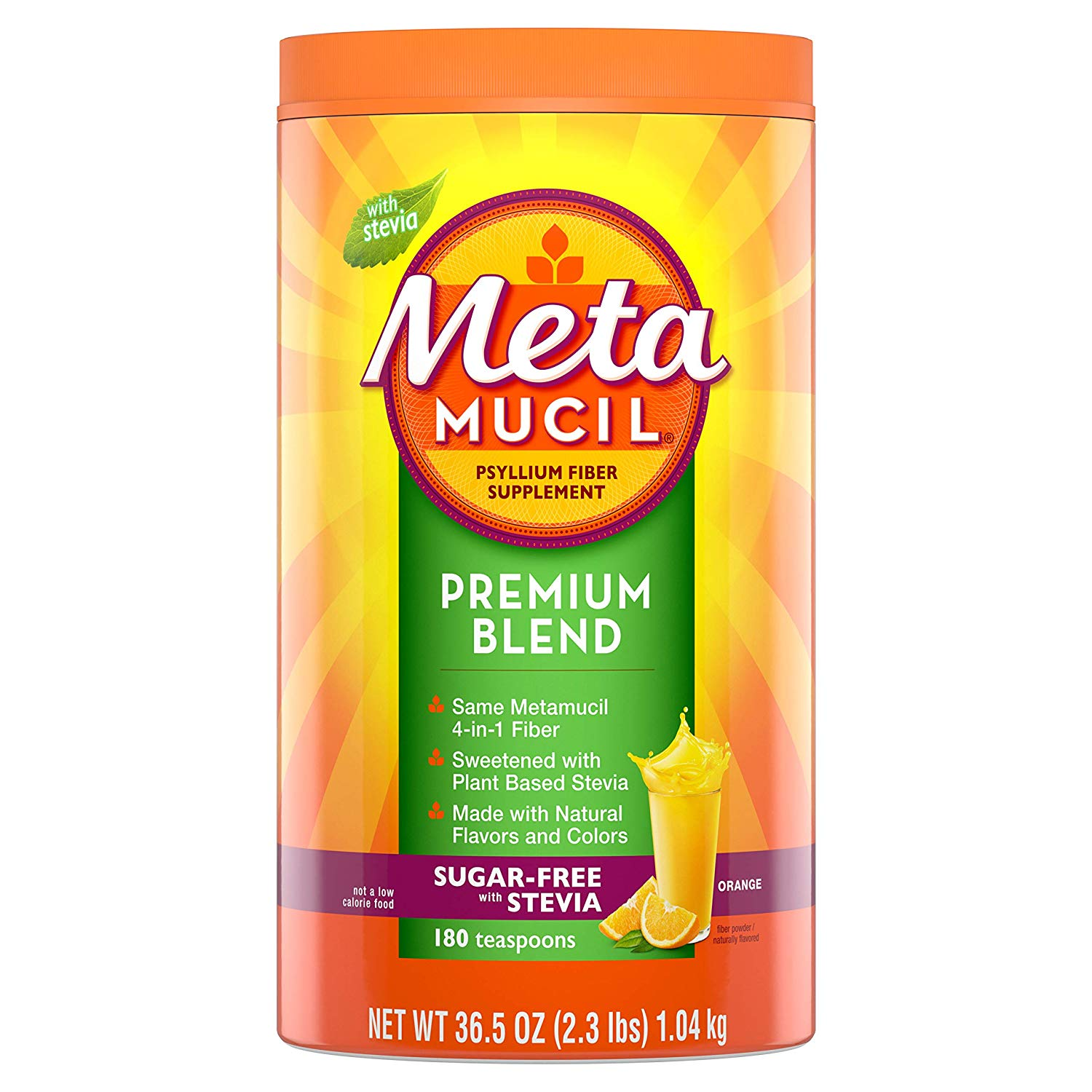 Metamucil Fiber, Premium Blend, Psyllium Fiber Powder Supplement,  Sugar.
