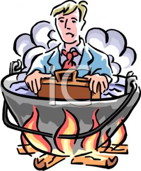Businessman in Hot Water Metaphor.
