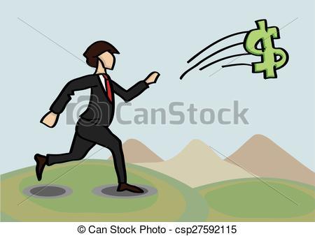 Vector Clip Art of Chasing After Money Metaphor Vector Cartoon.