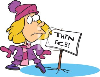 Royalty Free Clip Art Image: Cartoon of a Woman Stepping Onto Thin.