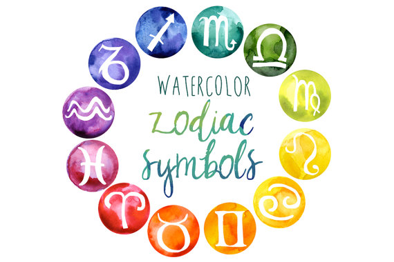 Watercolor Zodiac Clipart Rainbow by DigitalPressCreation on Etsy.