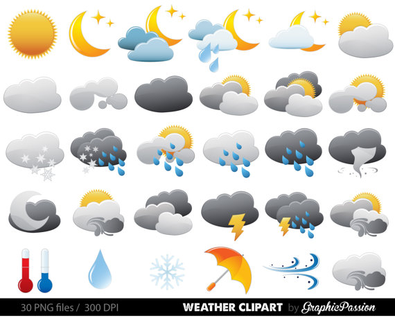 Weather Clipart Clip Art Vectors Weather digital by GraphicPassion.