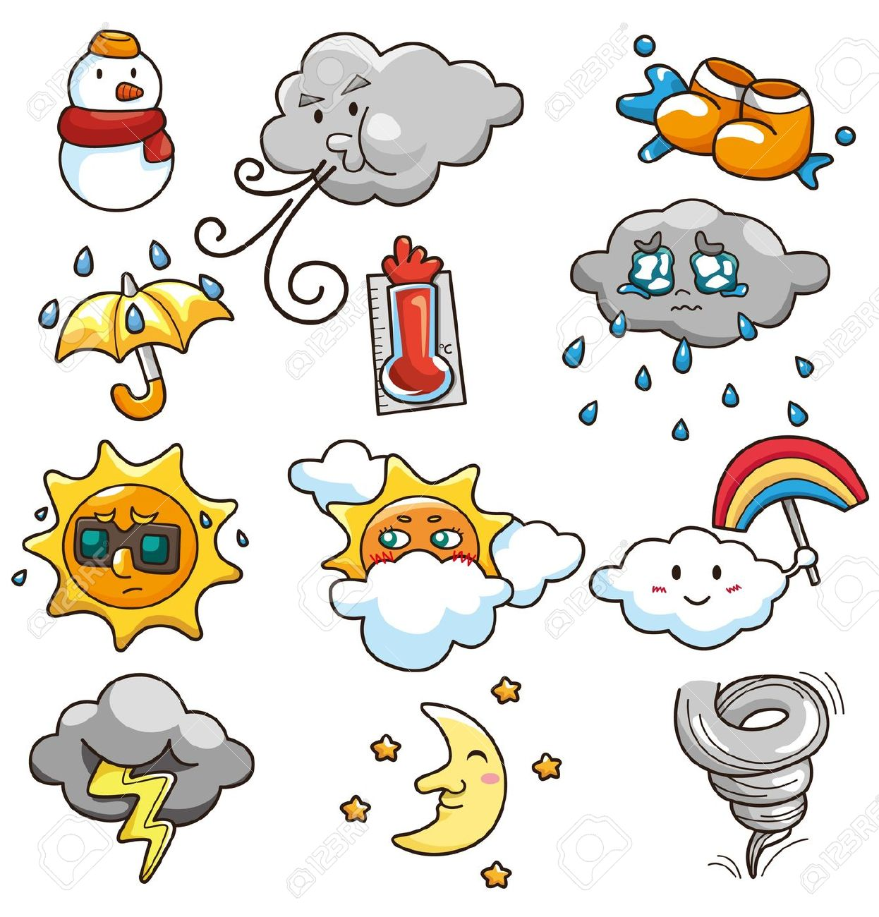 Summer Weather Clipart on alarm clock drawing