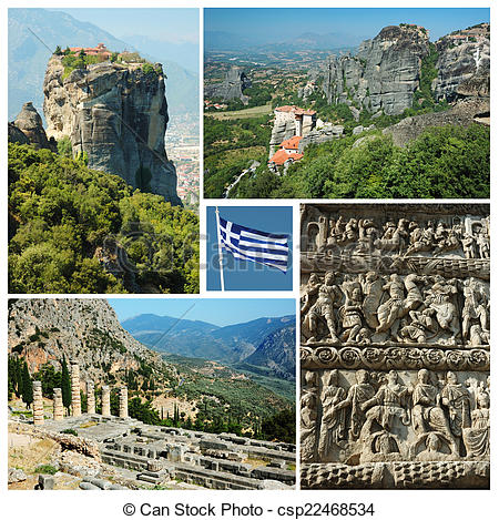 Stock Photos of Collage of famous greek landmarks.