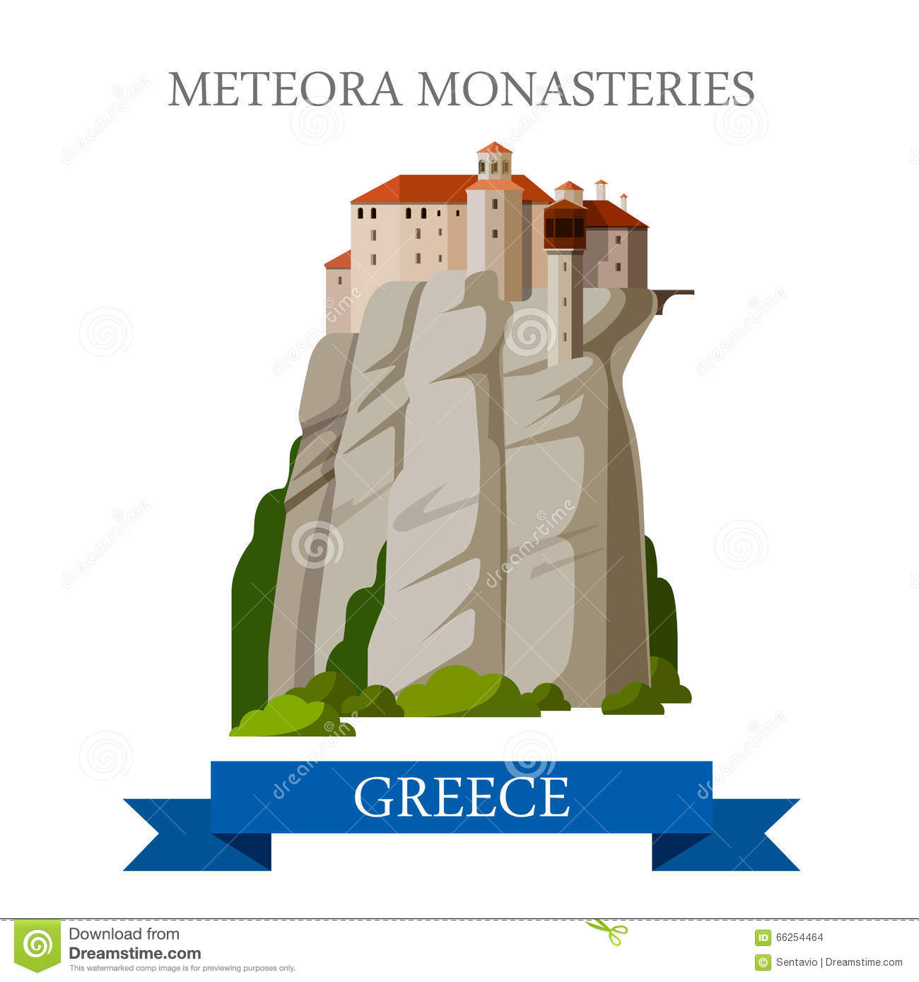 Greek Orthodox Monasteries In Meteora Greece Stock Photo.