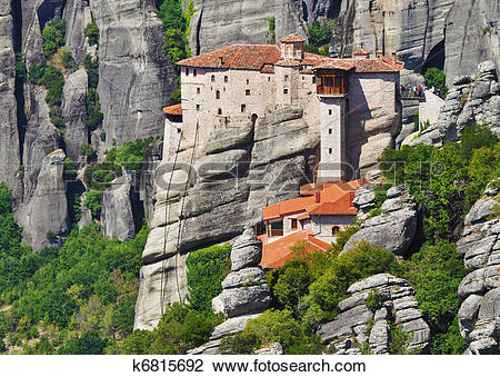 Clip Art of Monastery at Meteora, Greece k6815692.